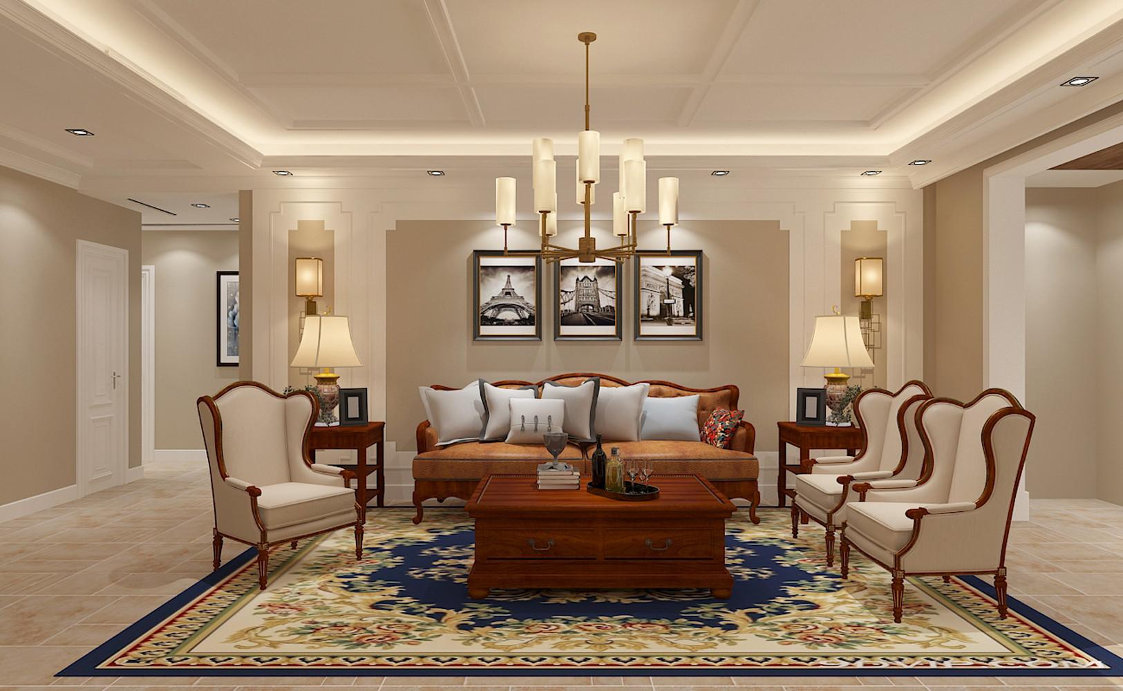 大户型美式之家沙发背景墙图片