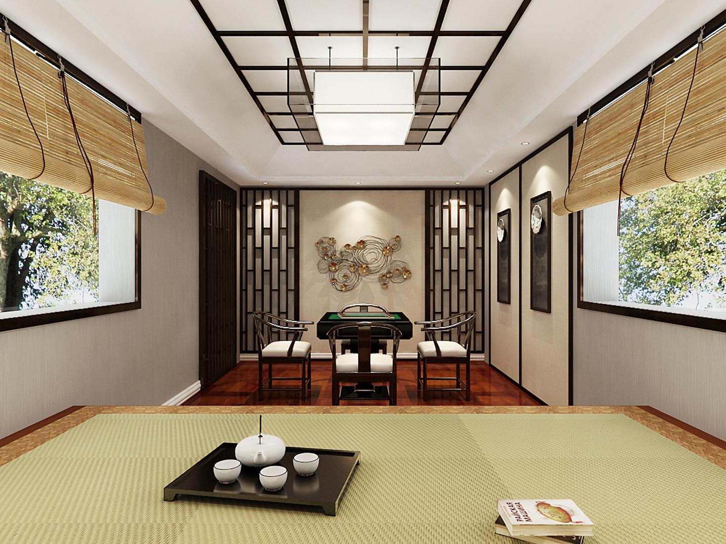 大户型新中式装修棋牌室榻榻米设计