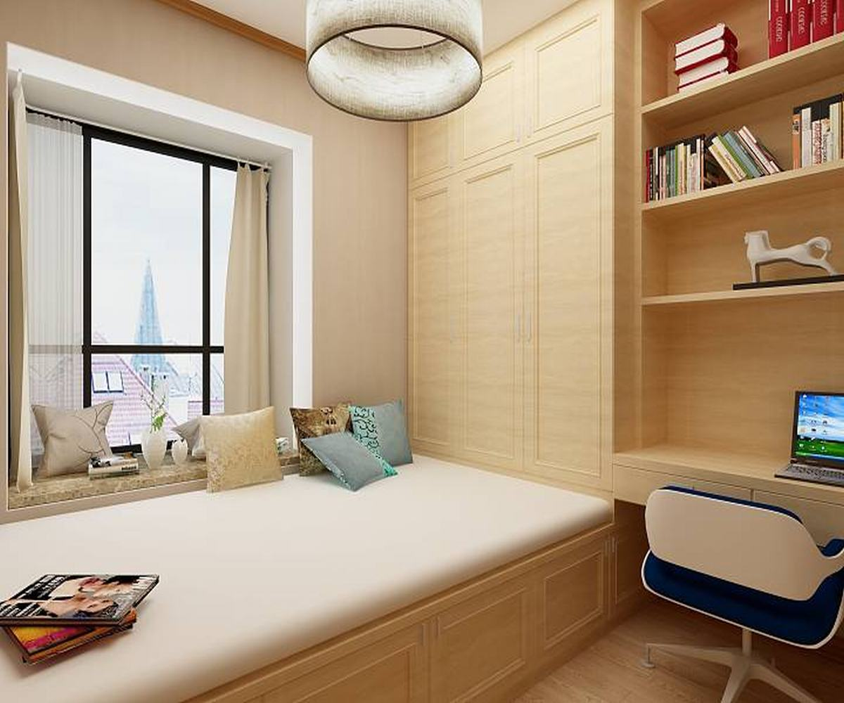 100㎡三居室设计书房效果图