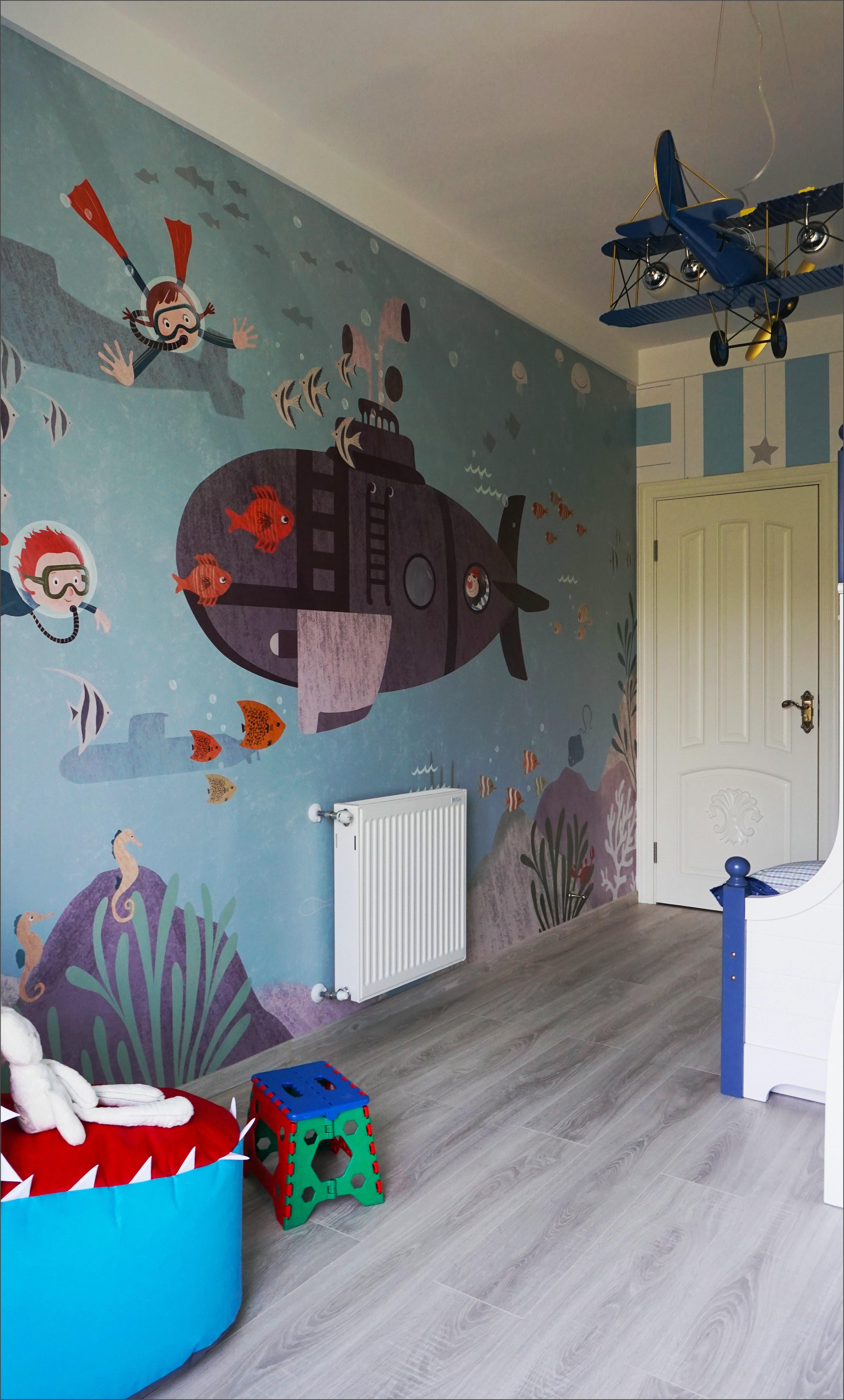 美式四居装修儿童房背景墙图片