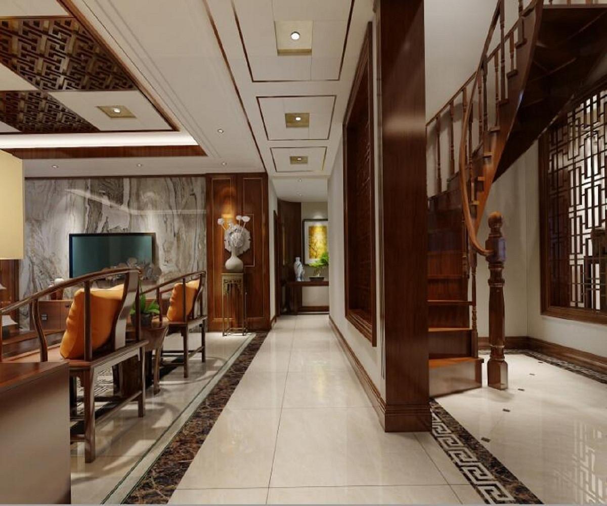 新中式四居装修客厅走廊图片