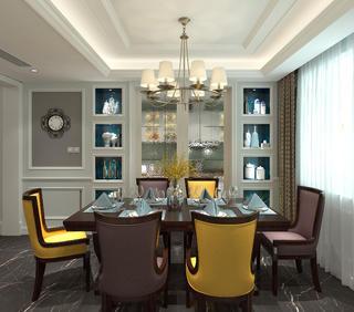 美式风格大户型装修餐厅效果图