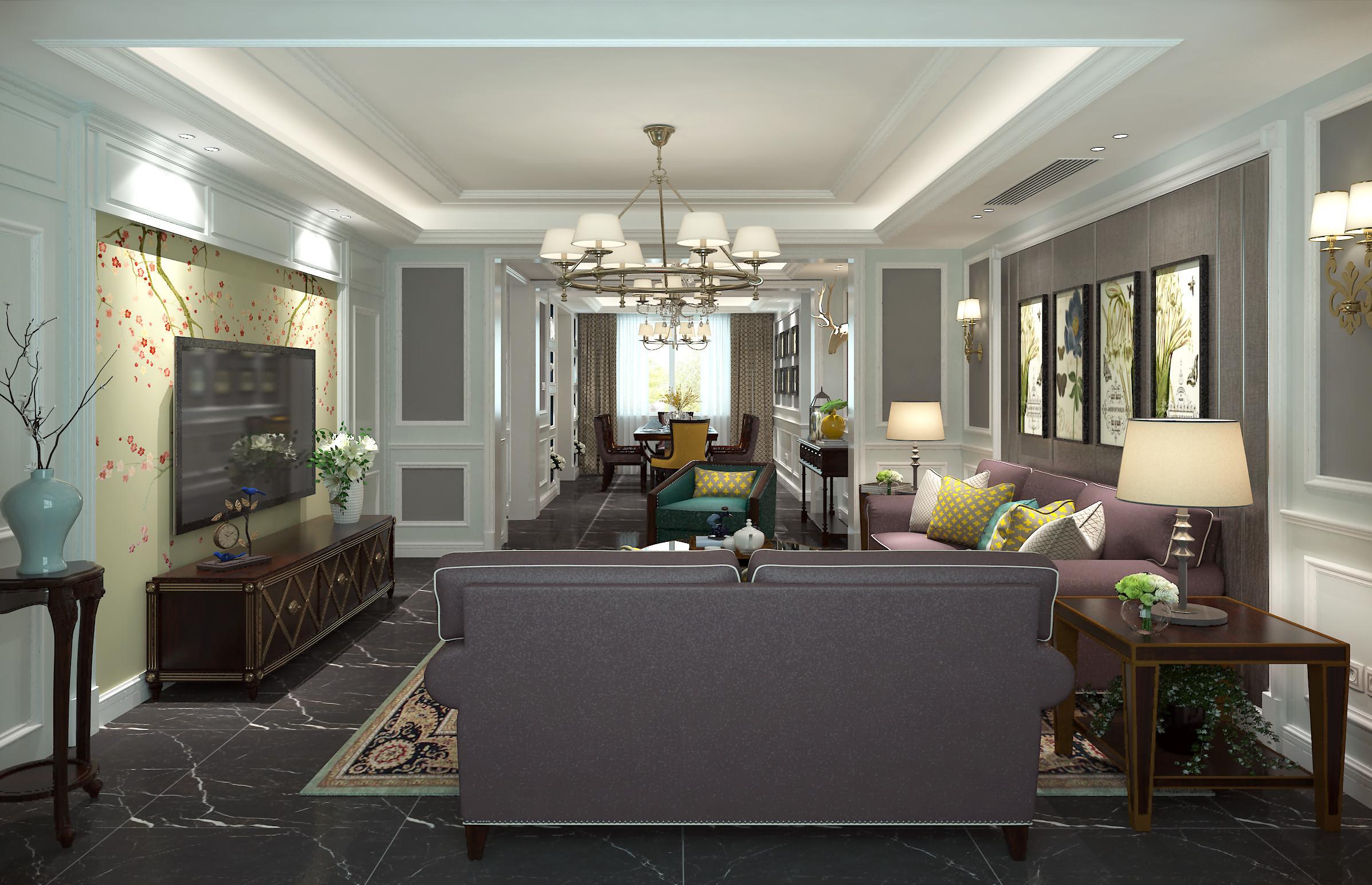 美式风格大户型装修客厅效果图