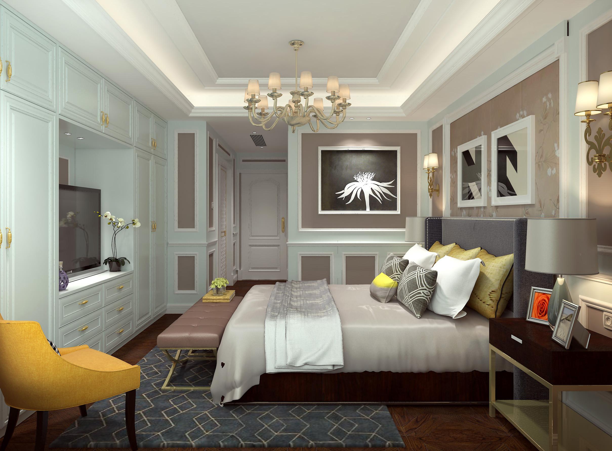 美式风格大户型装修卧室效果图
