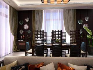 新中式别墅装修餐厅布置图