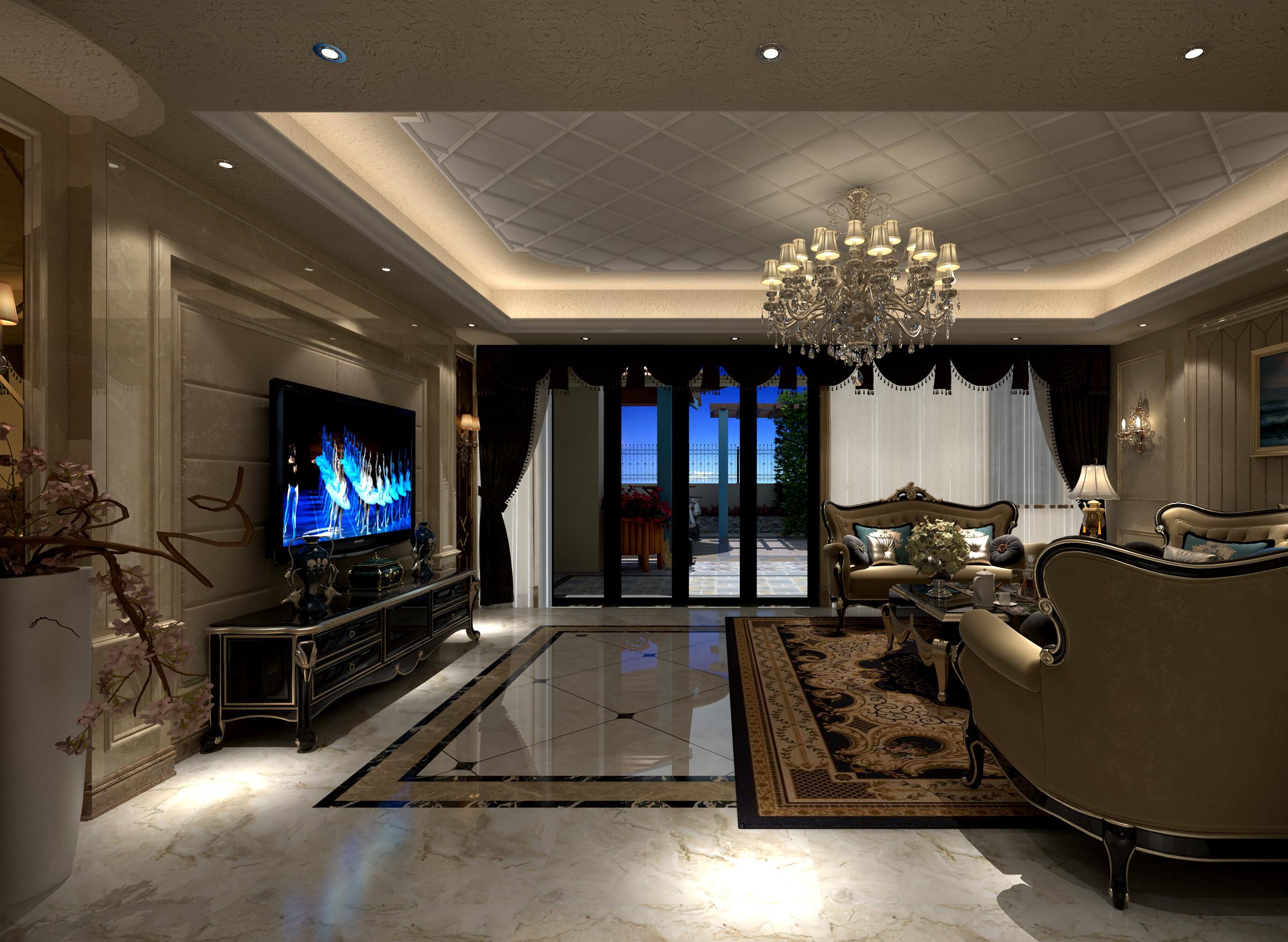 欧式别墅装修电视背景墙图片