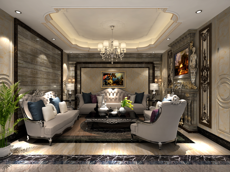 大理石展廳裝修會客廳效果圖