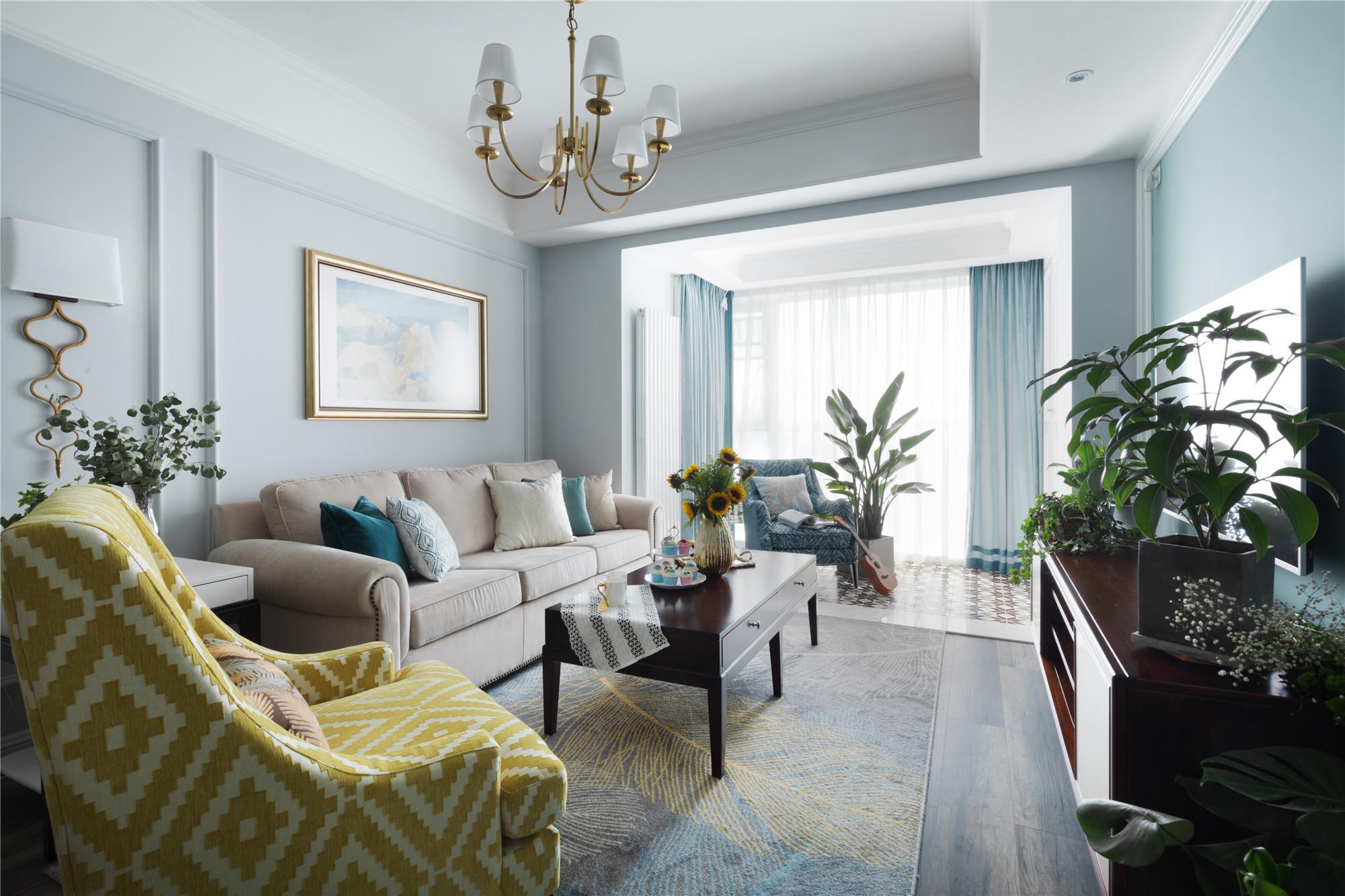 现代美式装修客厅效果图