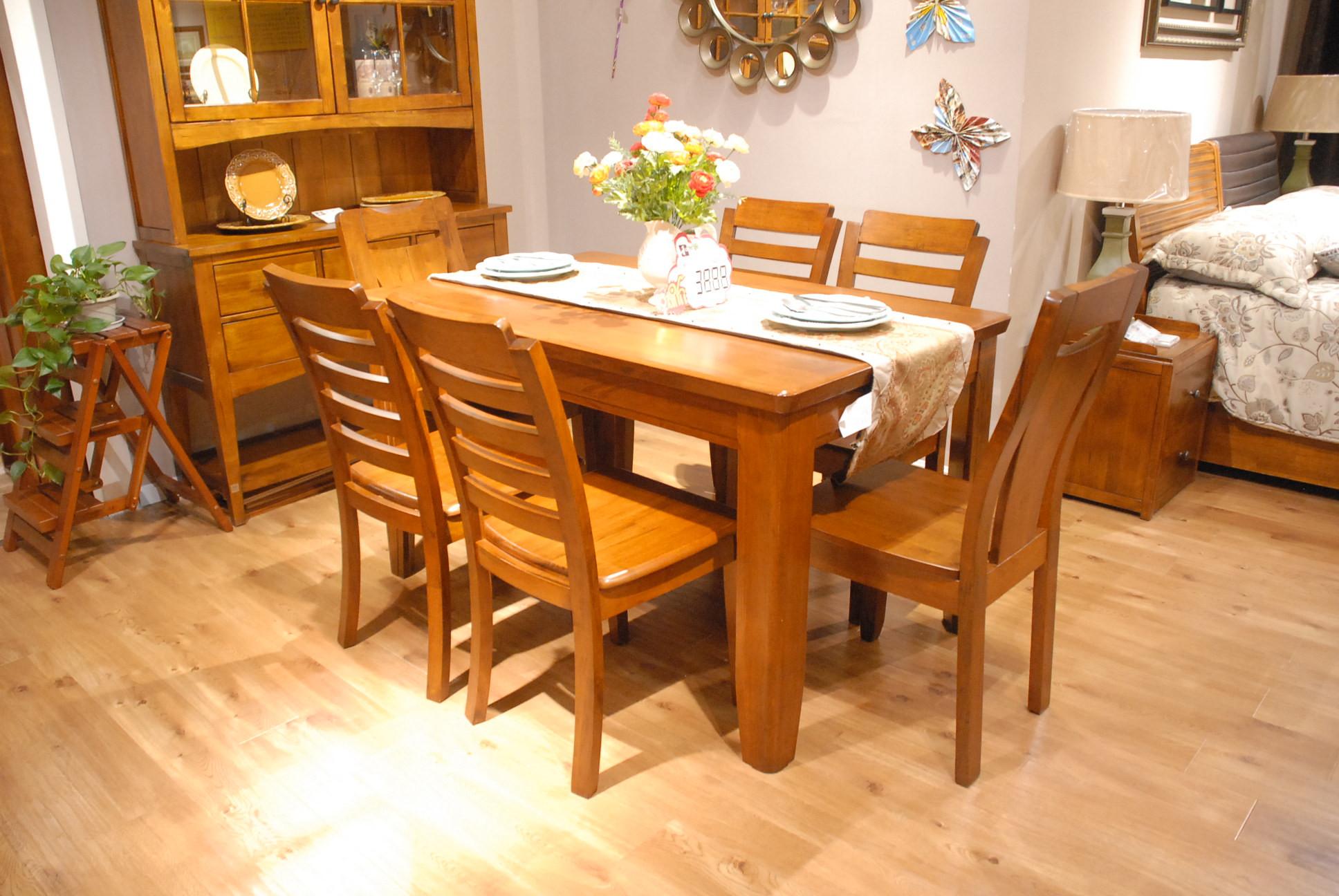 光彩夜宴家具盛惠  和木居137实木餐台+6椅