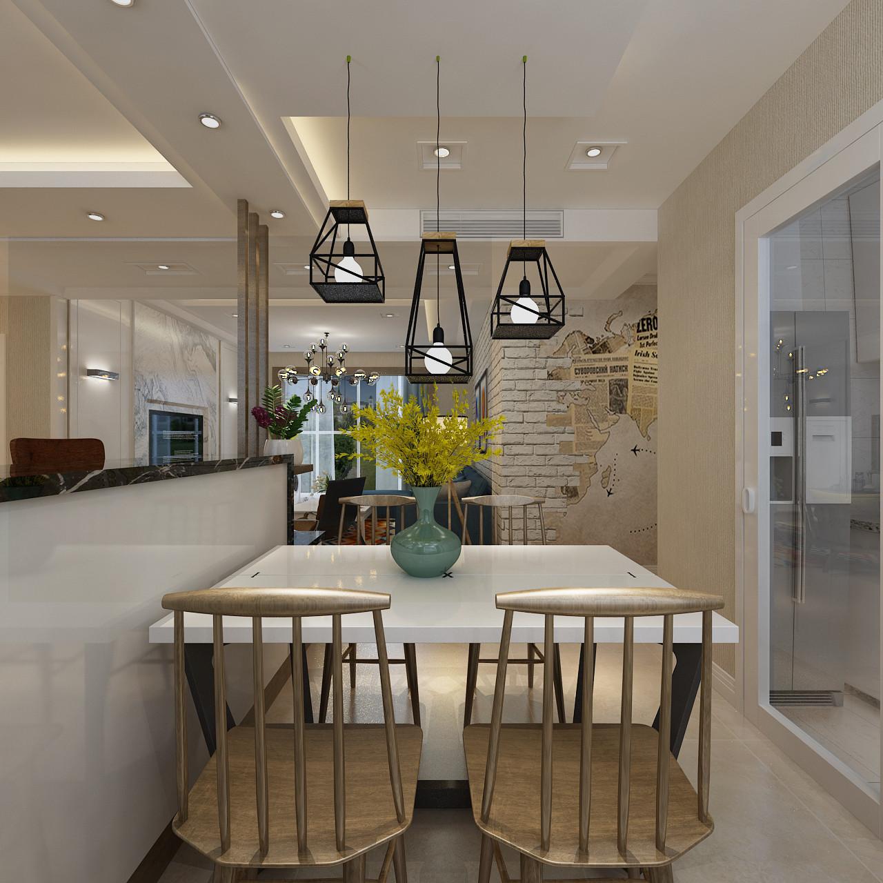 130平三居之家餐厅吊灯设计