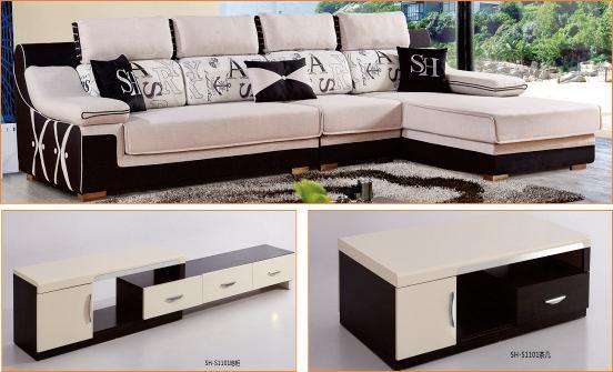 BS-D93沙发+SH-F01茶几+SH-F01电视柜