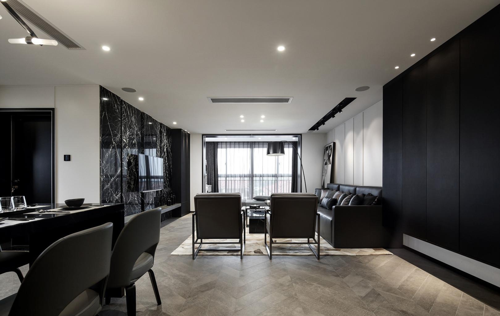 黑白灰三居设计客厅效果图