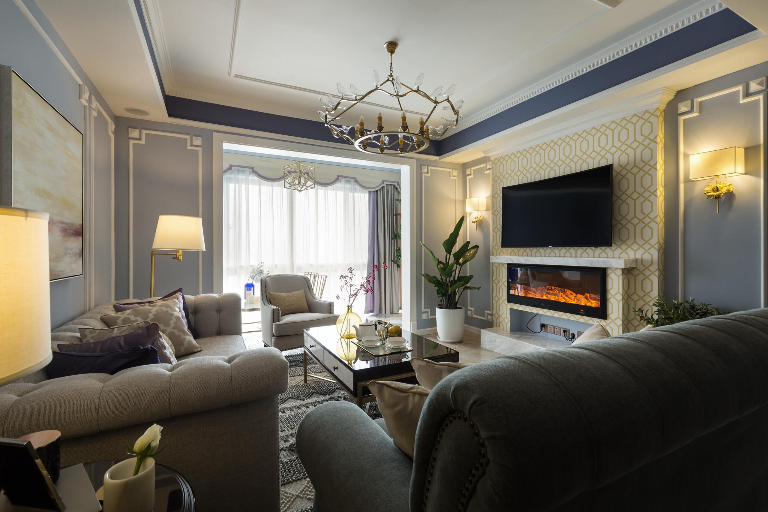美式風格奢華客廳吊頂裝修圖片_齊家網裝修效果圖
