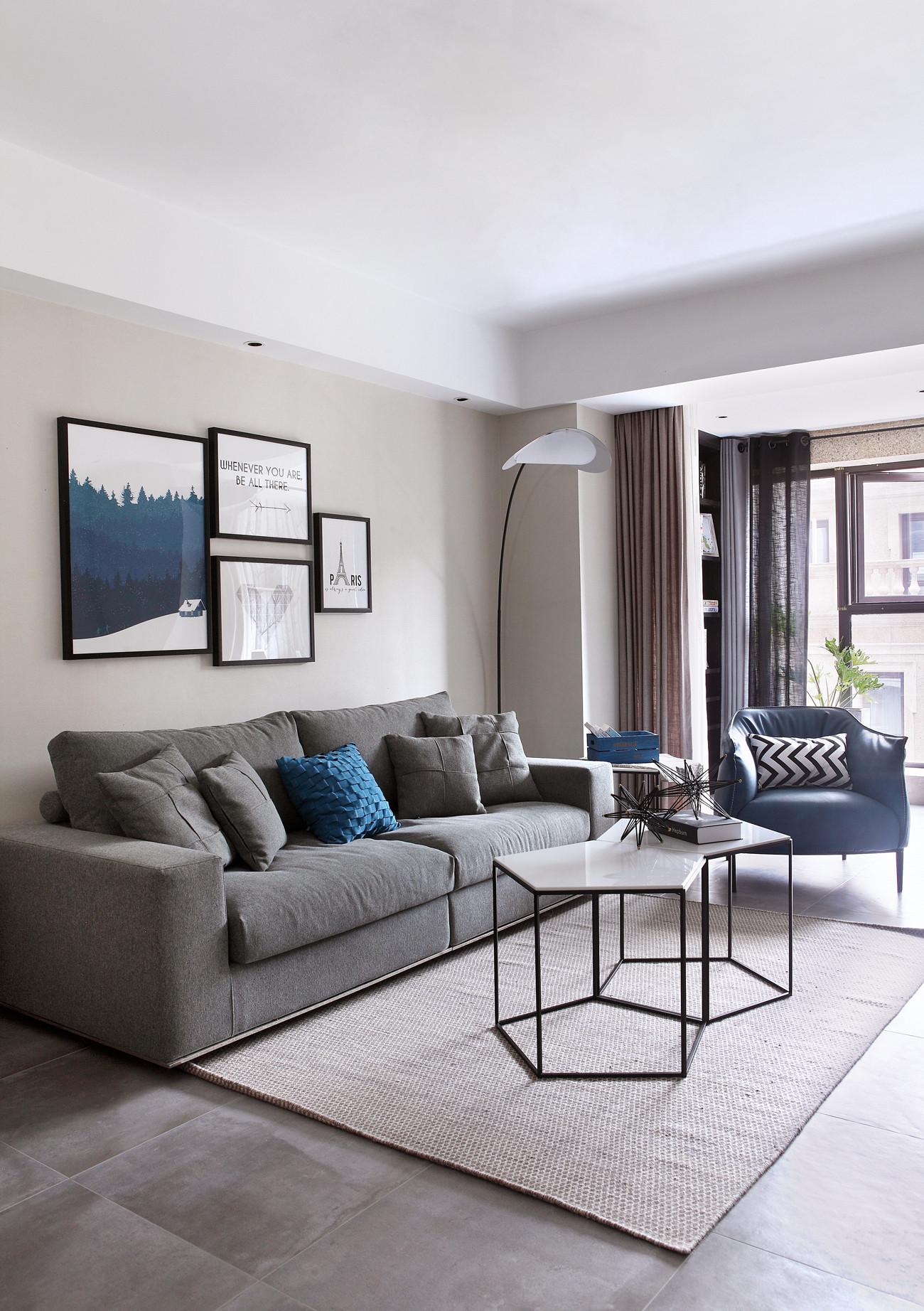 89平现代北欧风装修沙发背景墙图片