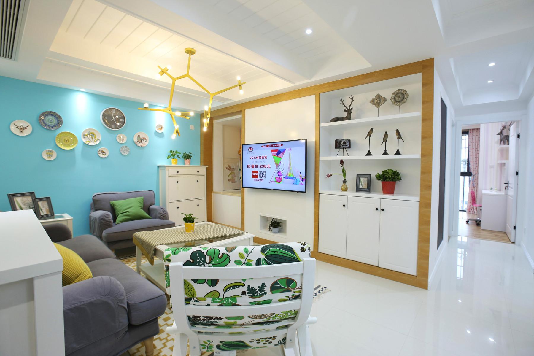 北欧三居装修电视背景墙图片