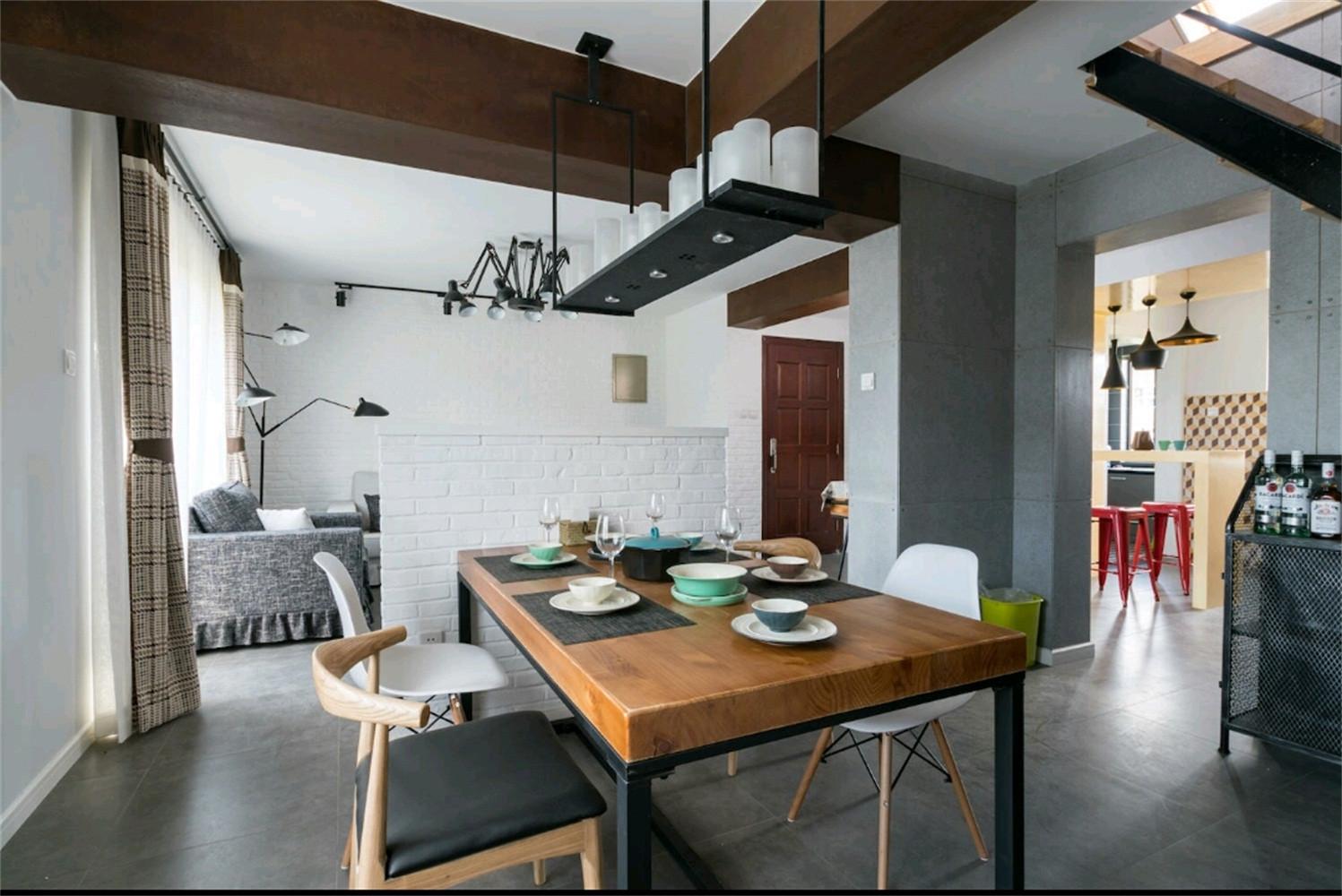日式风格loft公寓富裕型客厅和餐厅的设计图