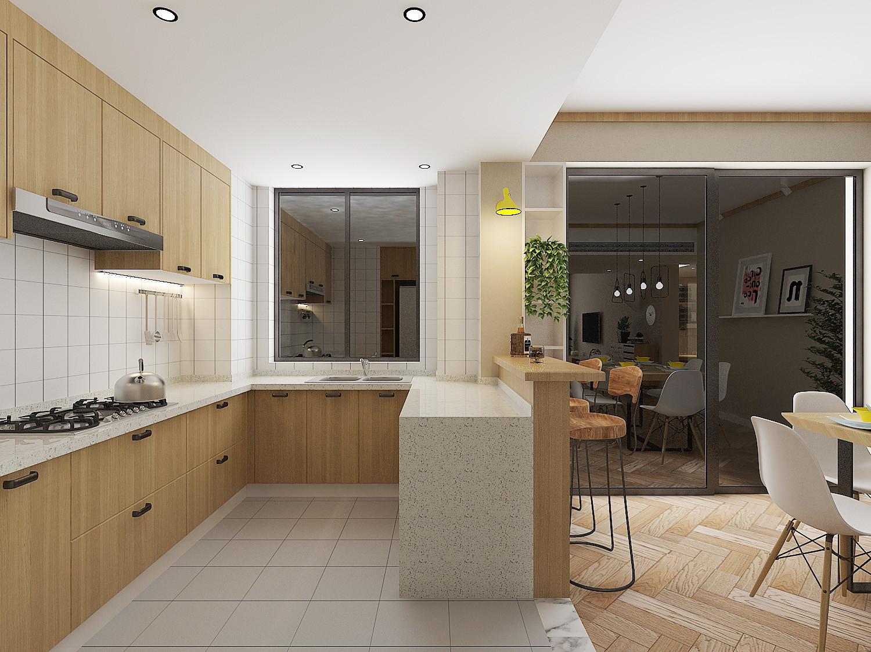 130平北欧装修厨房效果图