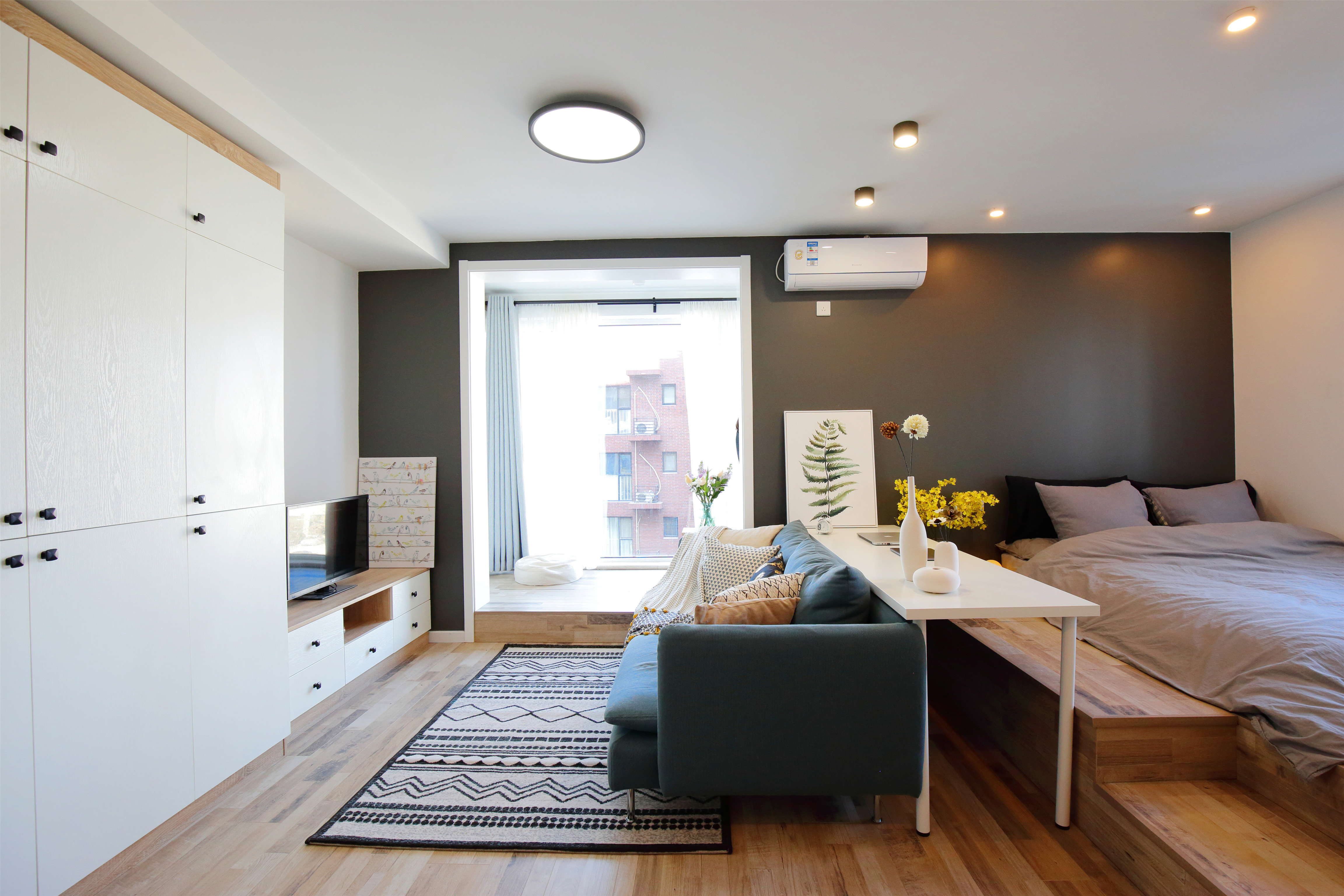 小户型北欧风设计床头背景墙图片