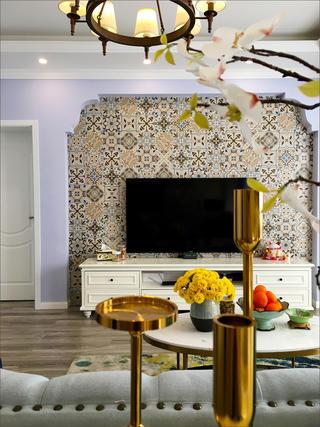110㎡美式装修电视背景墙图片