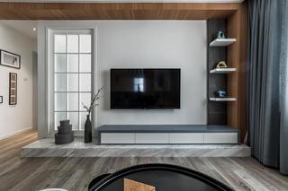 140平现代装修电视背景墙图片