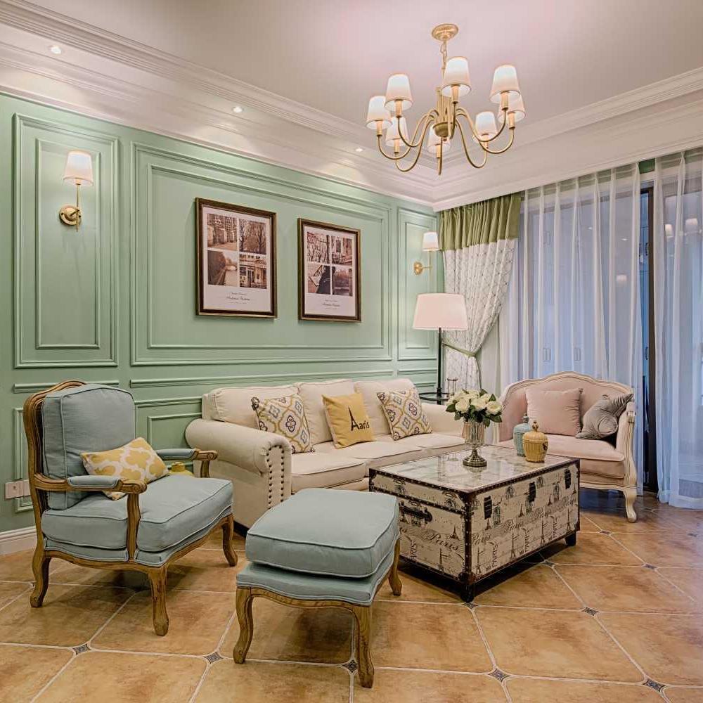 三居室美式风格家 绿意清新