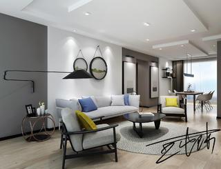 110㎡北欧风格装修客厅设计效果图
