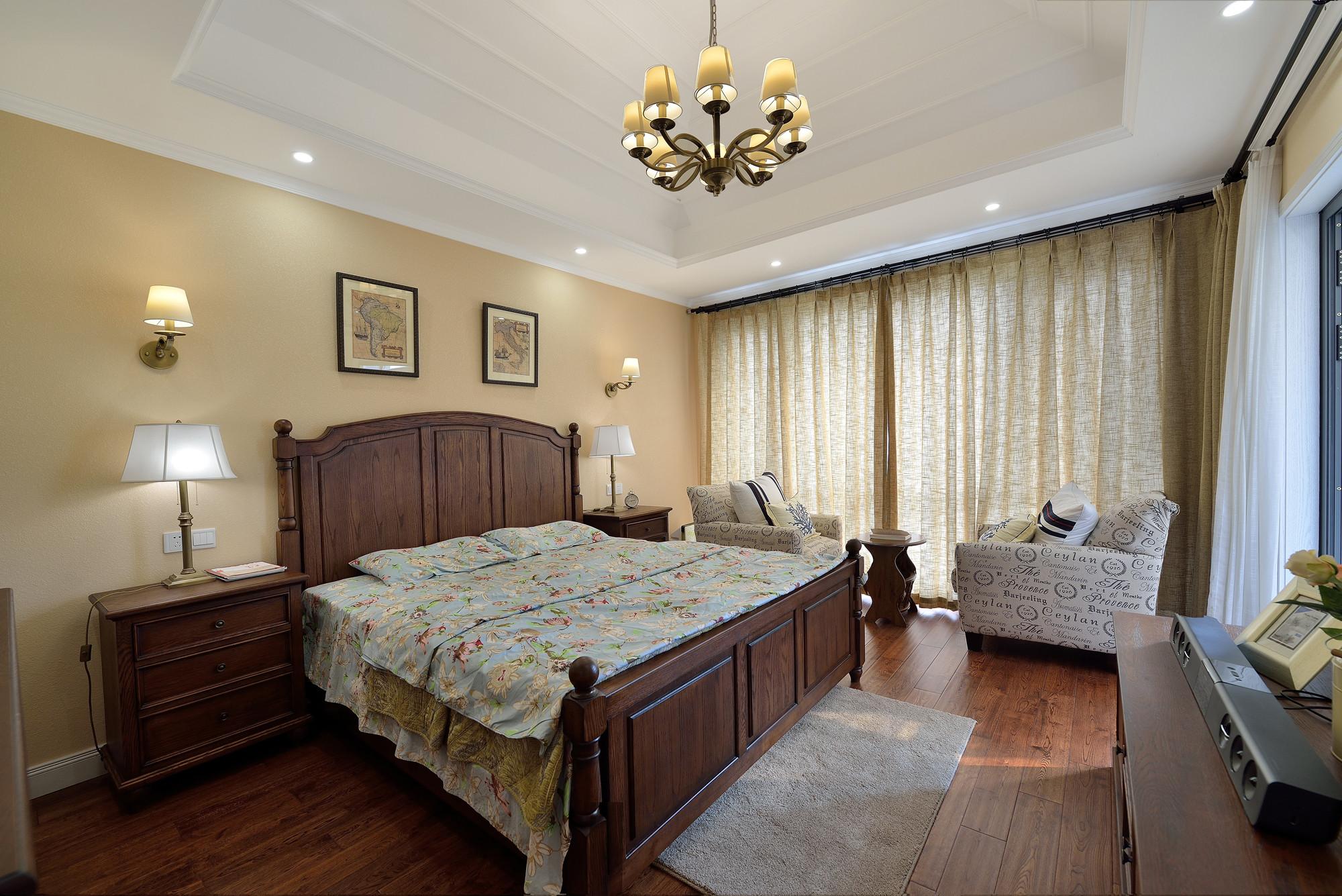 简美复式装修卧室效果图