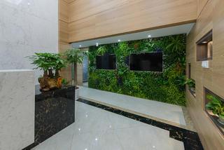 绿色人文办公楼装修绿植墙图片