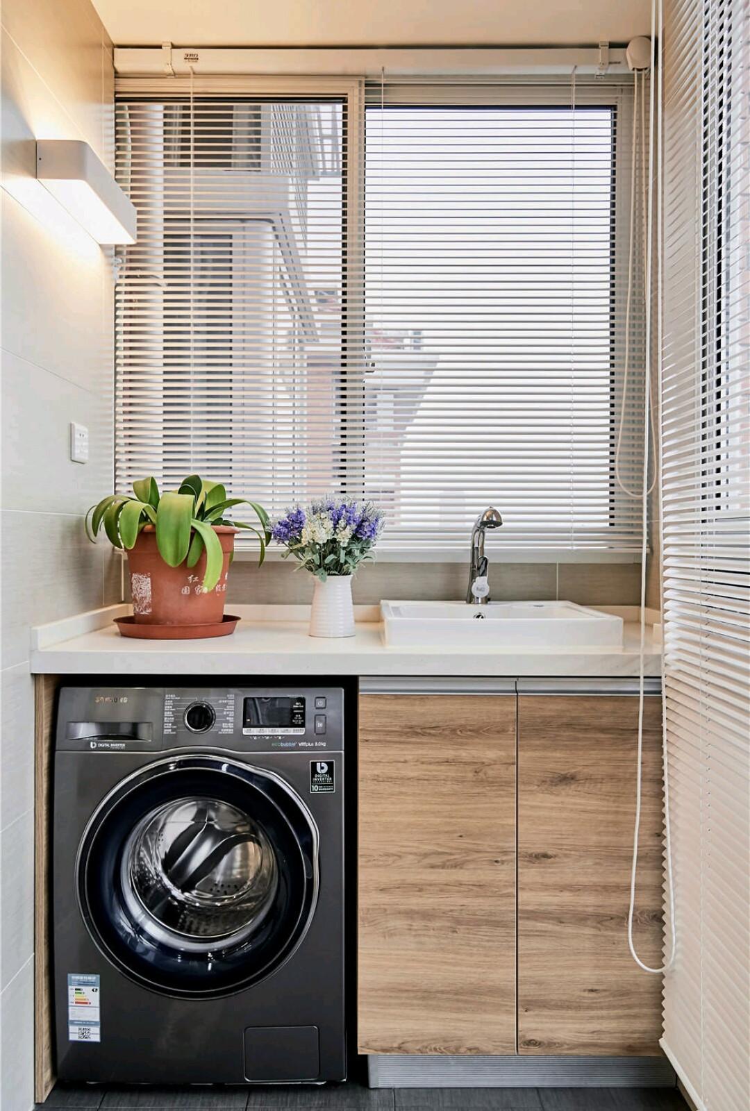 120平北欧风之家阳台洗衣区