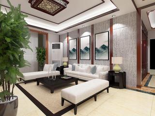 新中式三居之家沙发背景墙图片