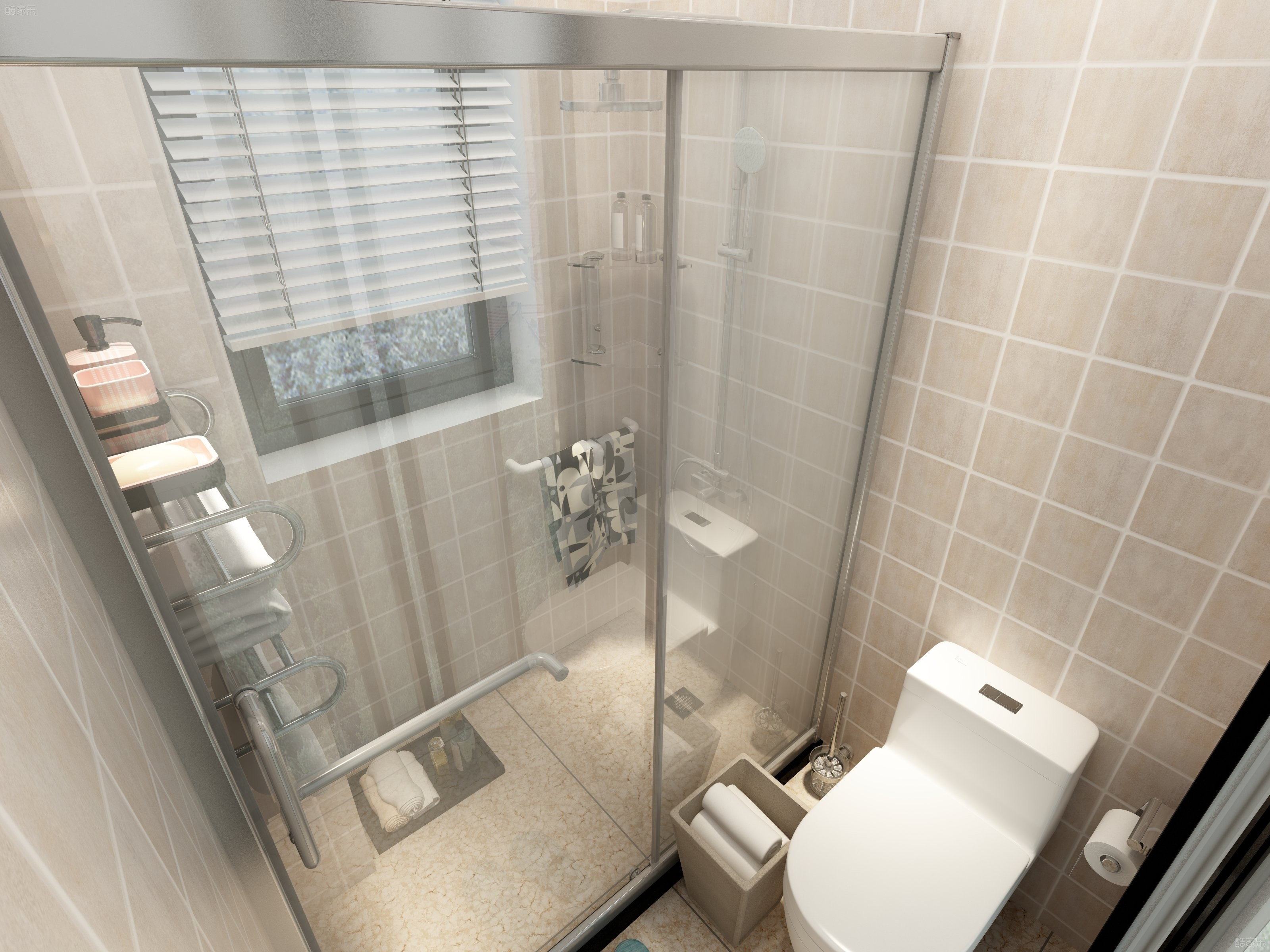 90平三居装修卫生间设计图