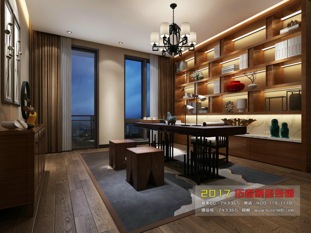 10-15万120平米中式四居室装修效果图,莱茵华庭5栋04
