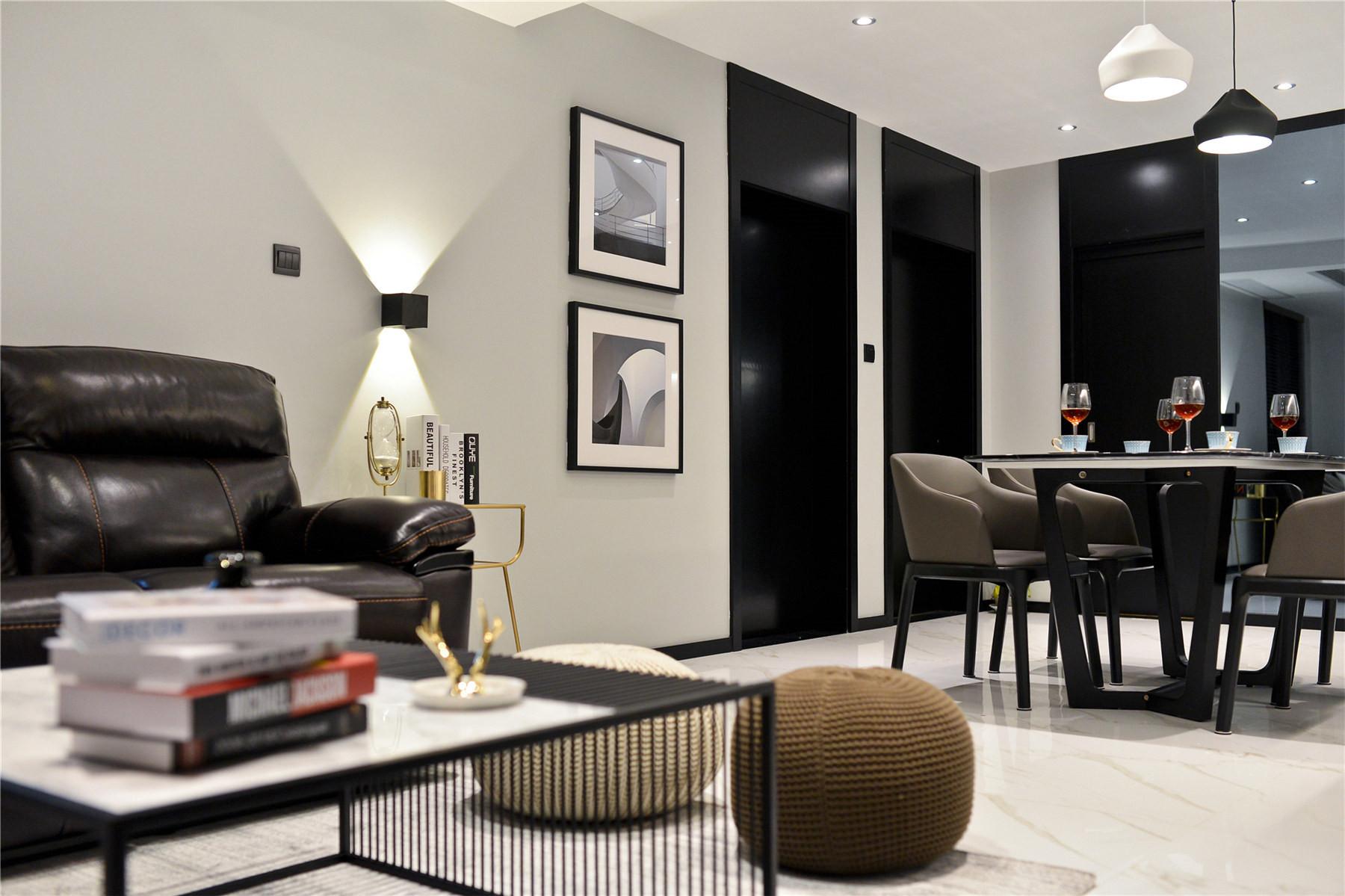 黑白简约风装修沙发背景墙图片