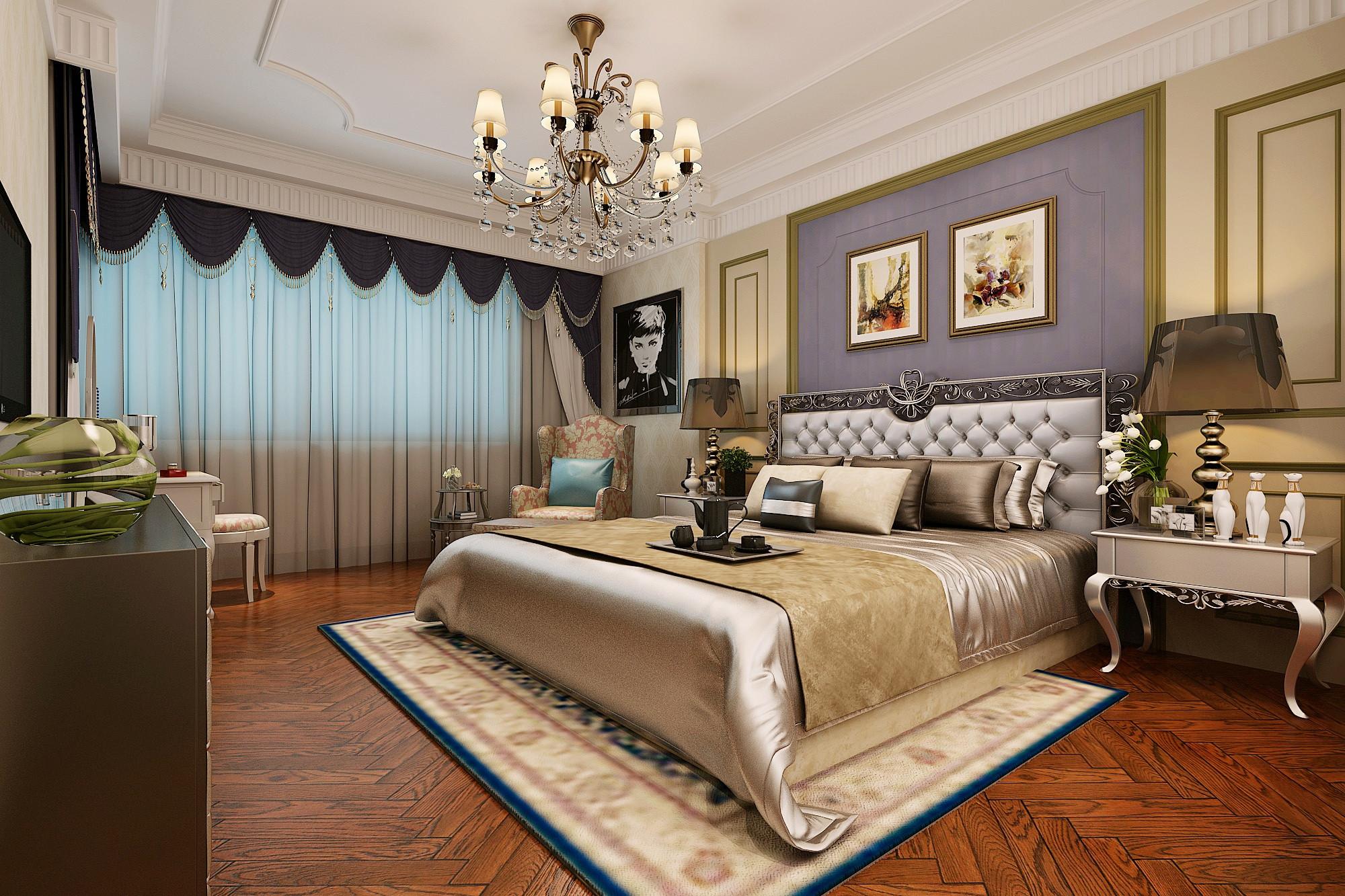 160平美式装修卧室设计图