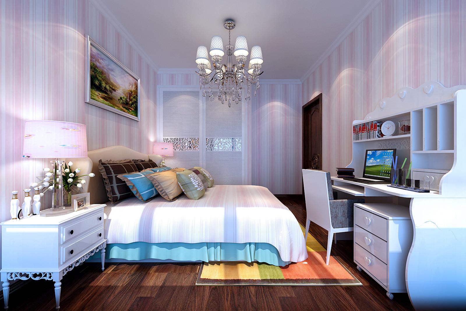 可爱女孩房高低床设计图