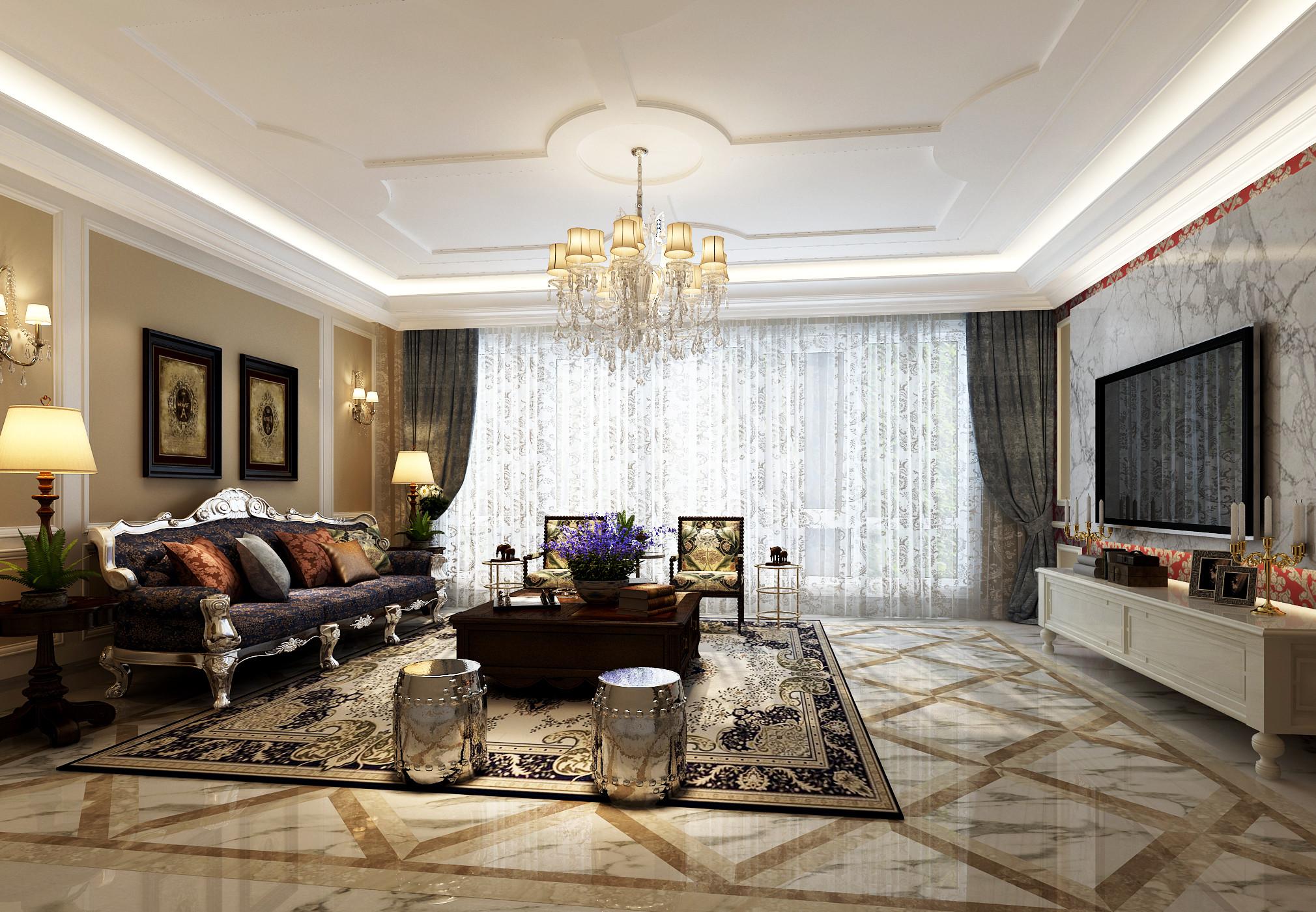 古典中美式混搭装修客厅效果图
