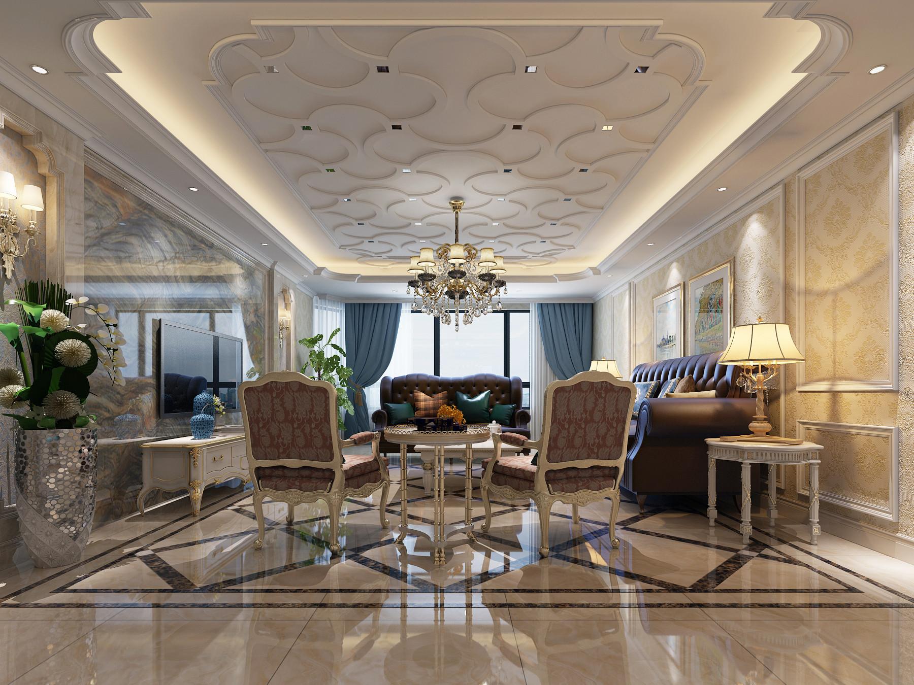185平现代欧式装修客厅吊顶图片
