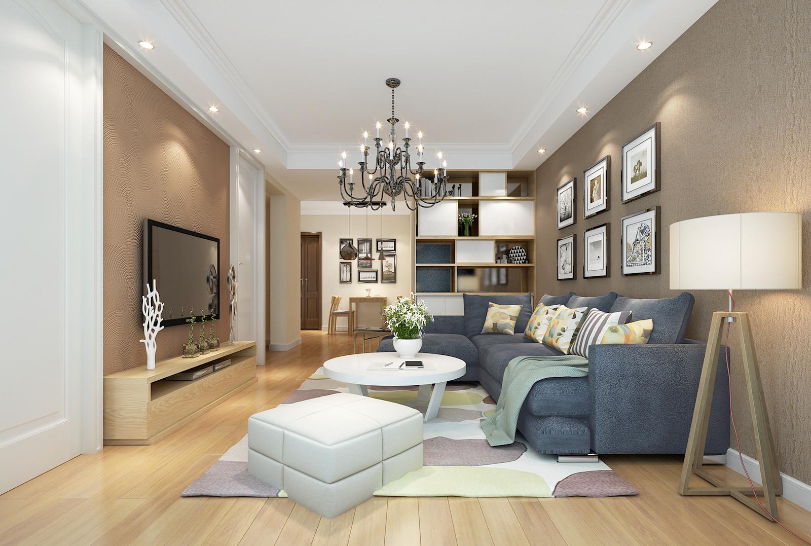 90平三居装修客厅效果图