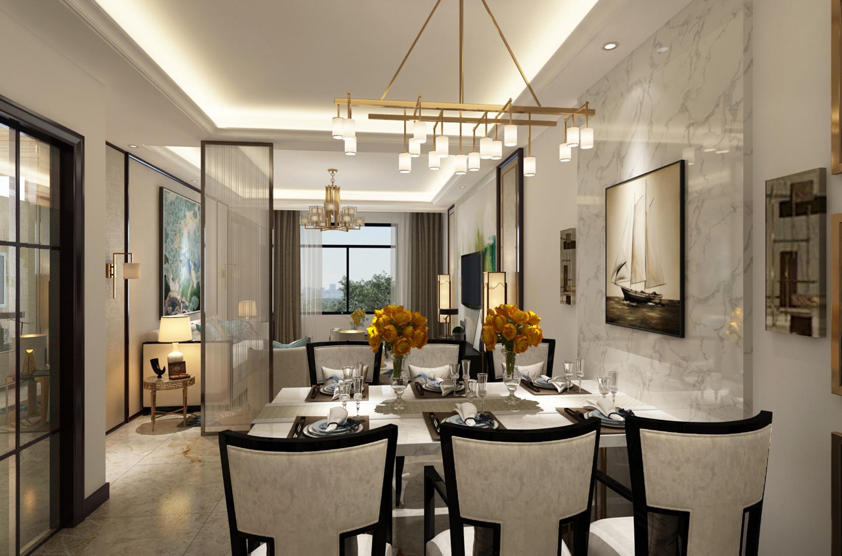 新中式三居装修餐厅设计图