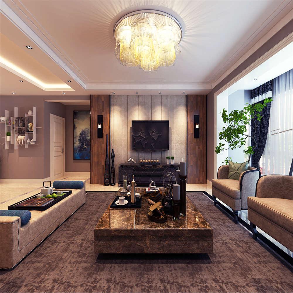 155平港式风格装修电视背景墙图片