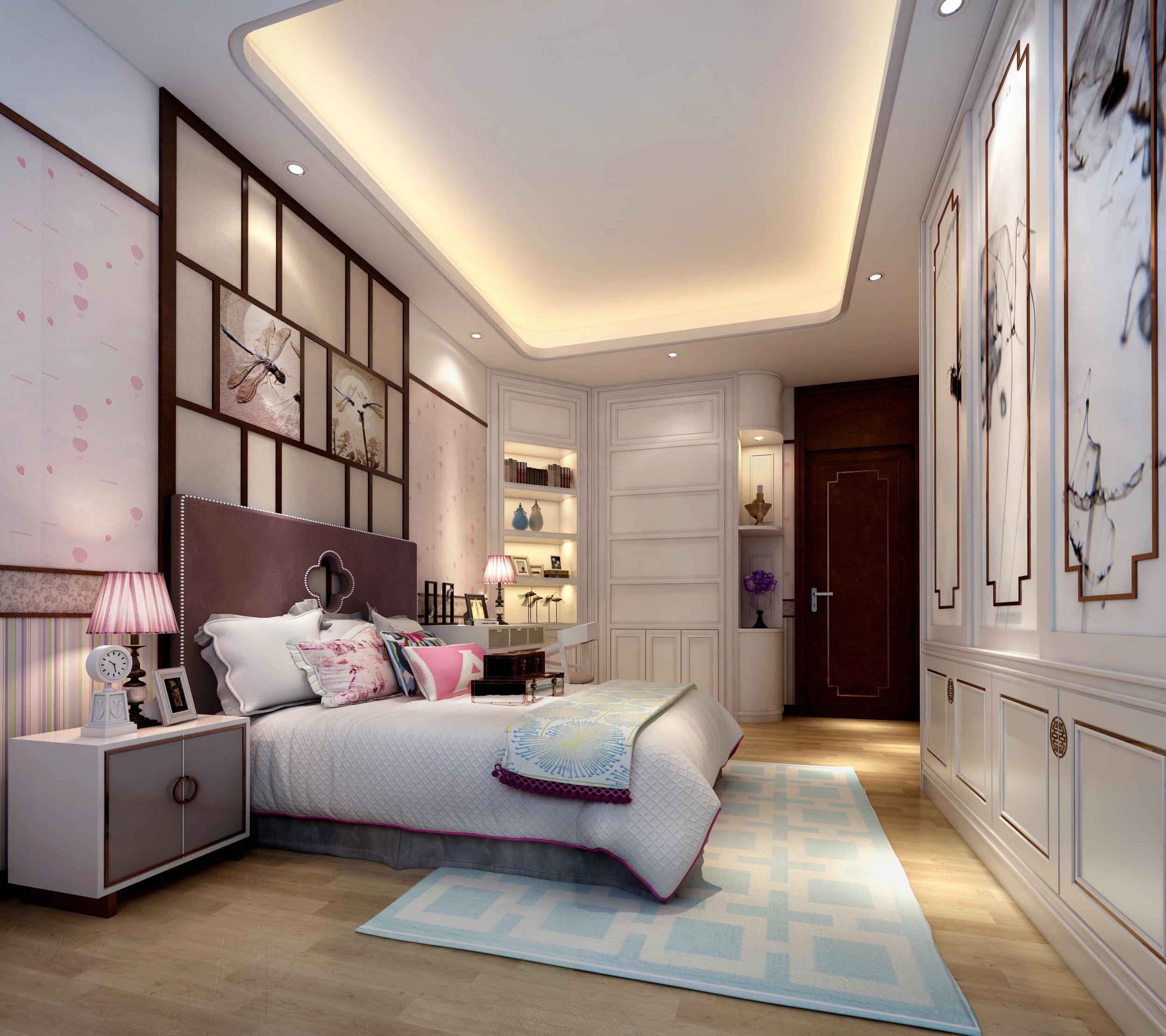 中式风格四房舒适10-15万120平米卧室床新房设计图图片