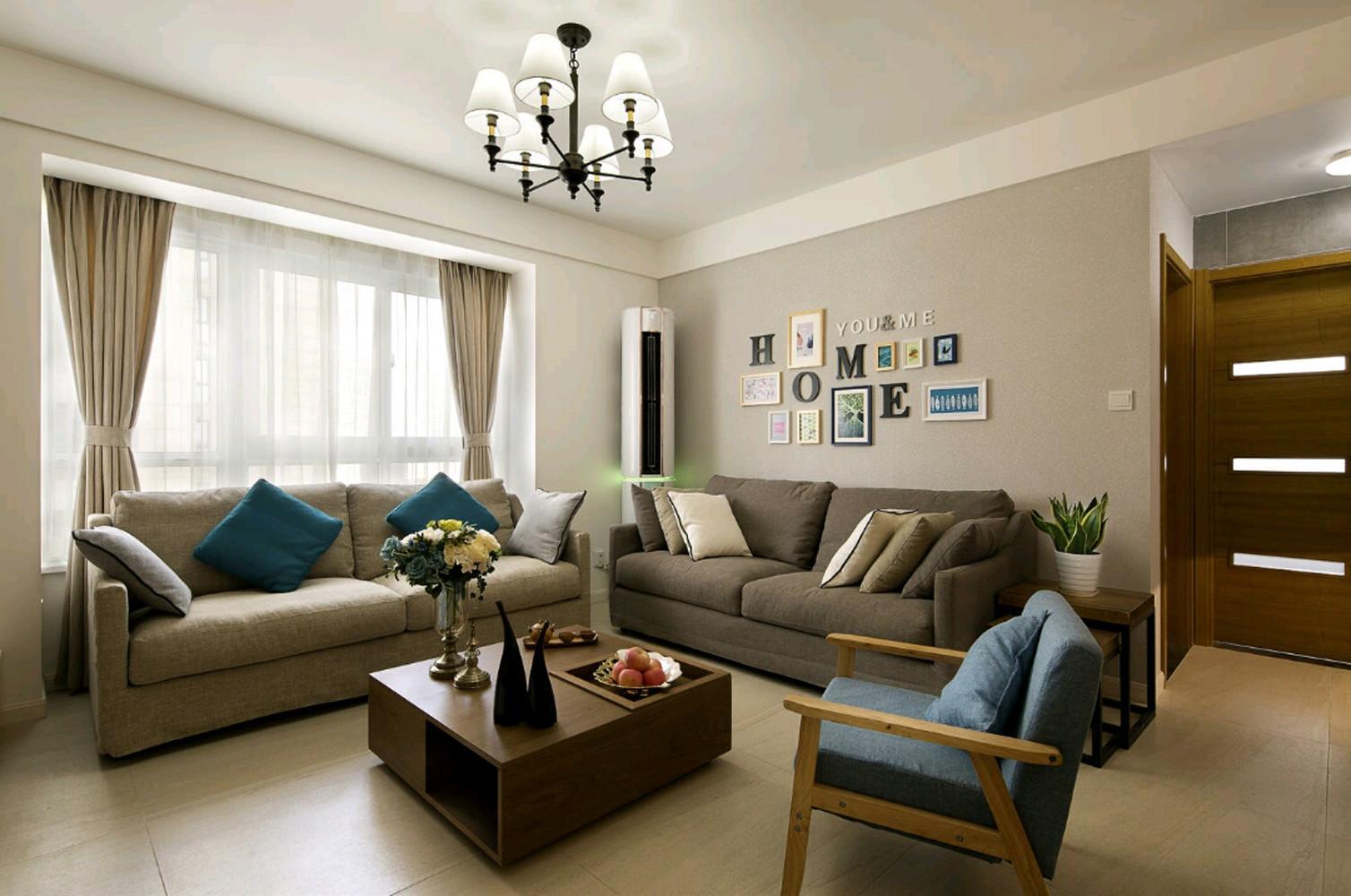 90平现代简约家沙发背景墙图片