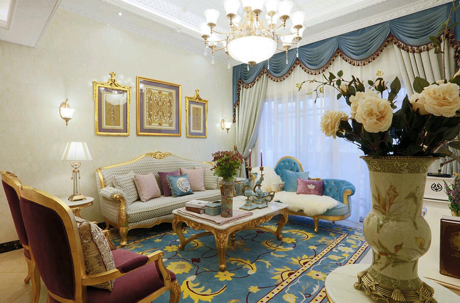 法式复式装修客厅效果图