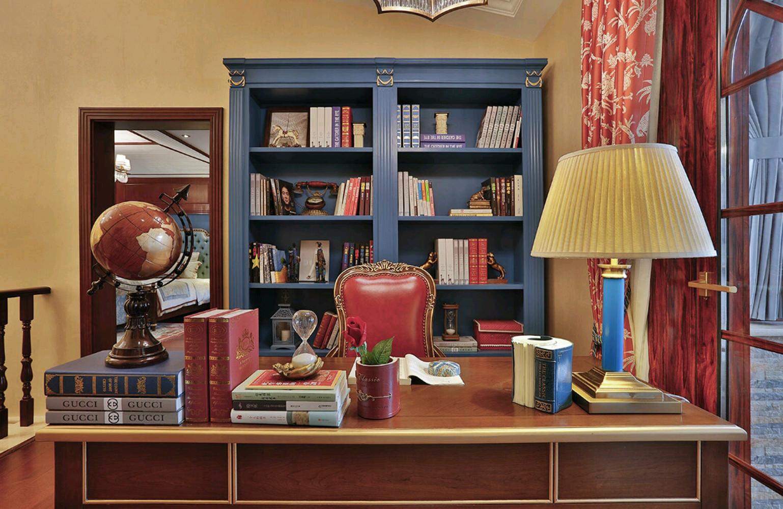 大户型美式之家书柜图片
