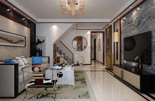 中式复式装修客厅效果图