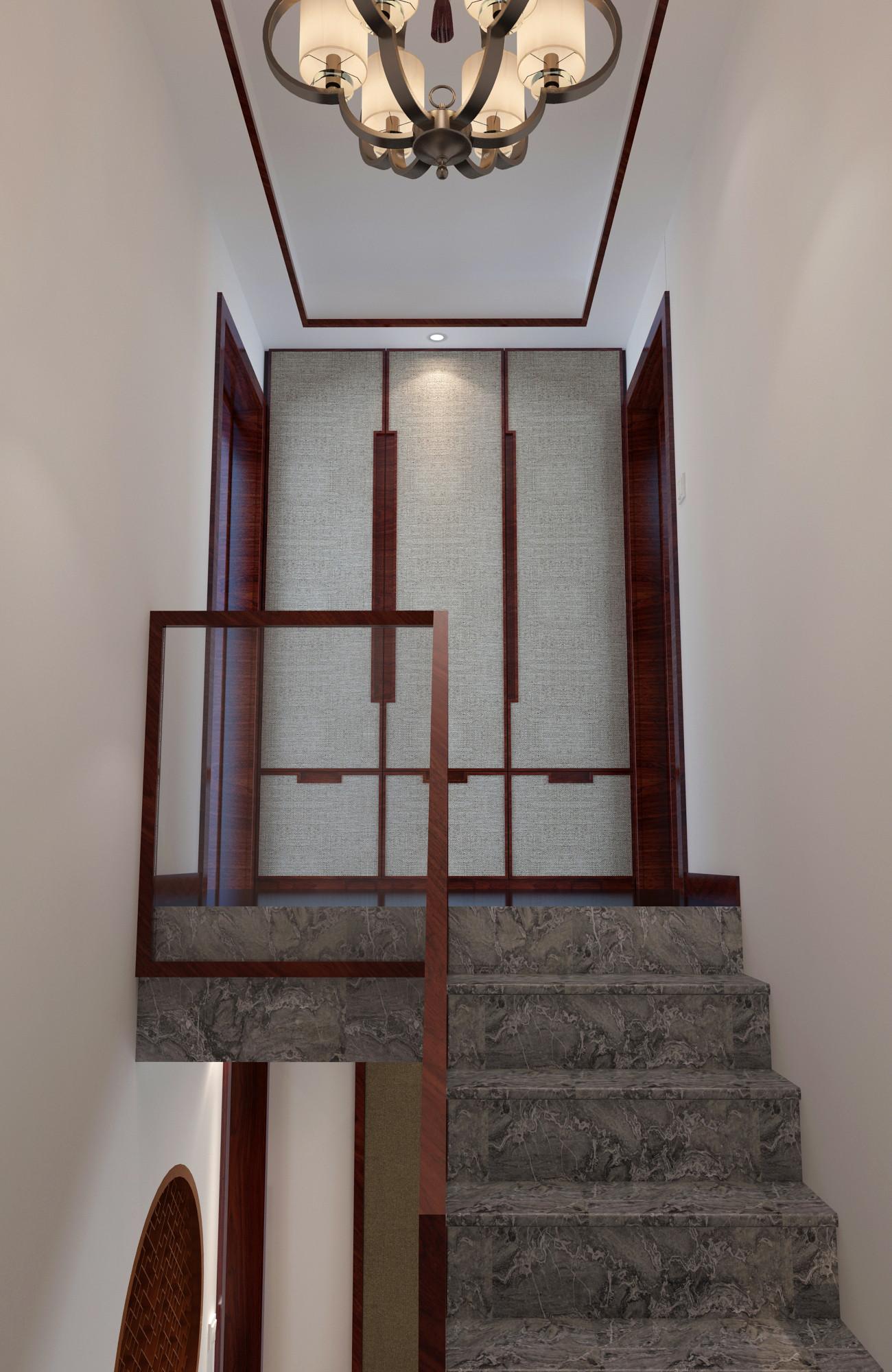 中式复式装修楼梯图片