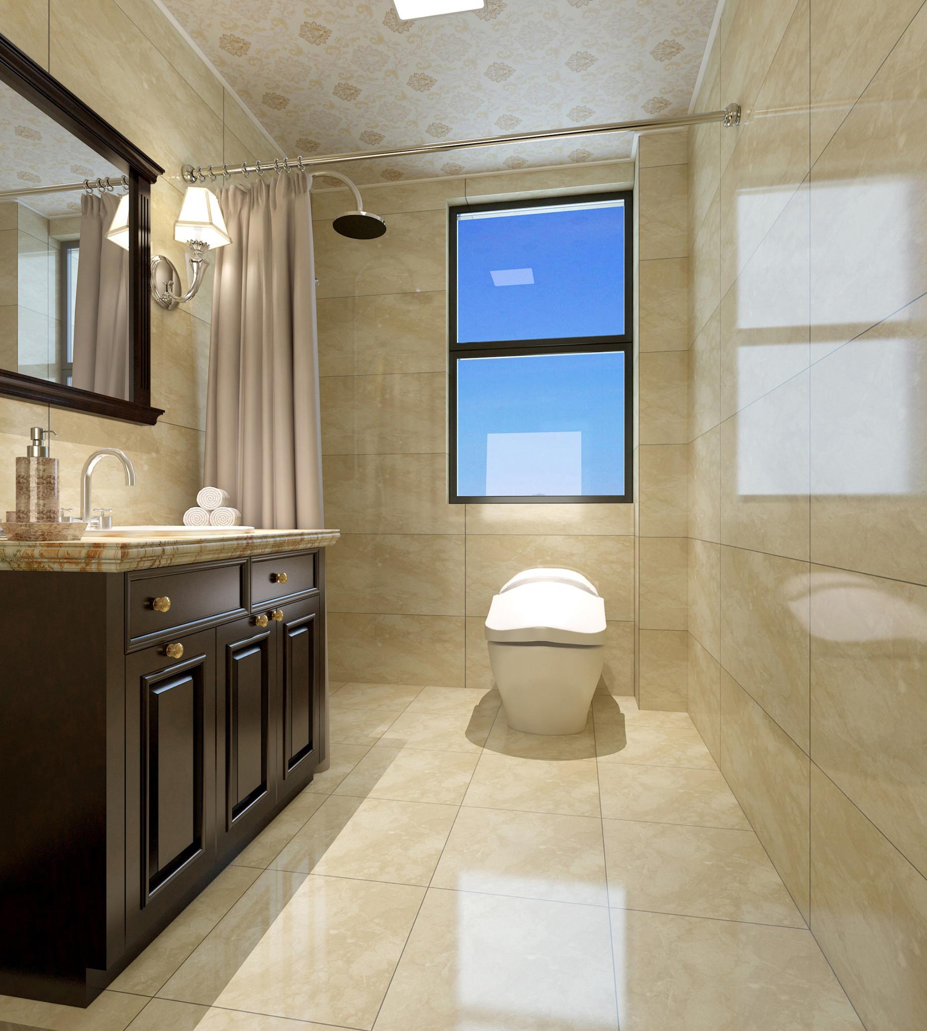 美式古典四居装修卫生间效果图