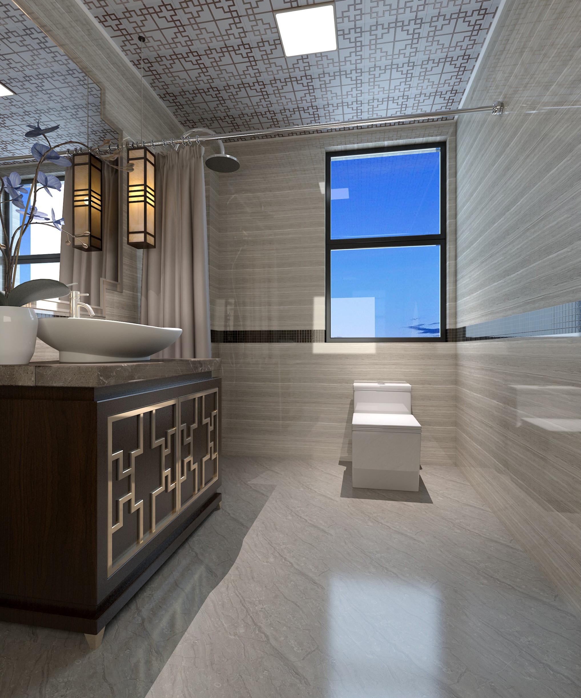 新中式四房装修卫生间效果图