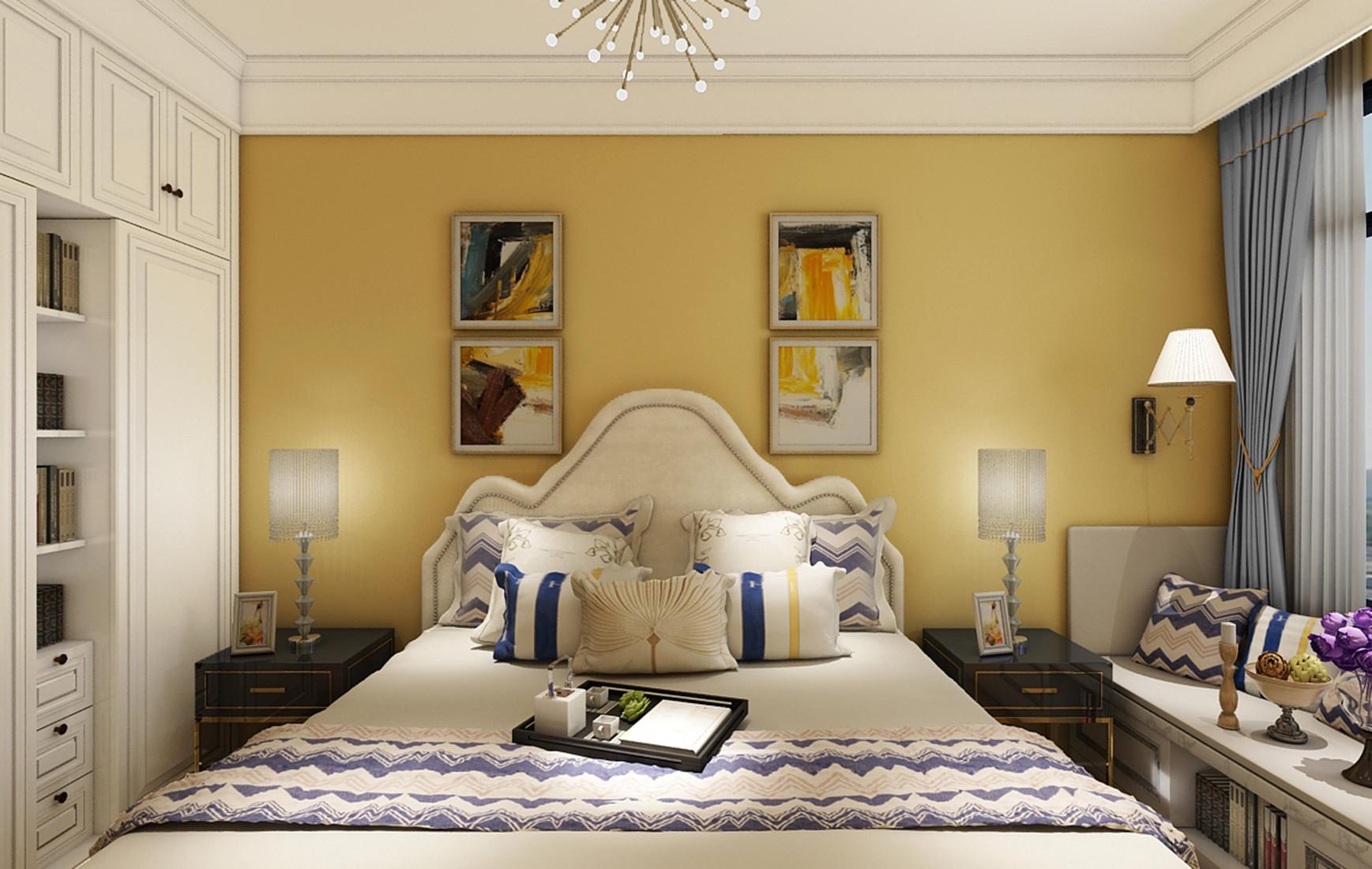 新中式三居装修次卧效果图