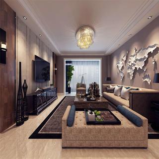155平港式风格装修客厅效果图